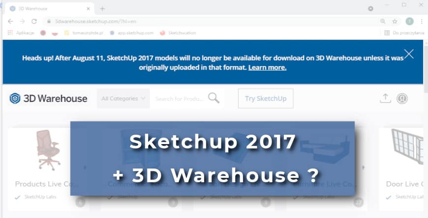 Ograniczenia 3D Warehouse w Sketchup 2017