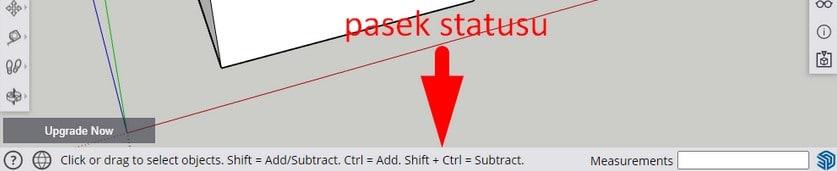 Pasek statusu w Sketchup for Web