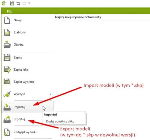 Opcje importu i eksportu w pCon.planner